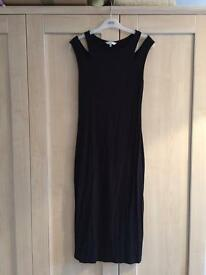 New Look black stretchy Midi dress size 14