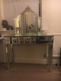 Glass Dressing Table with drawer. Ideal for bedroom