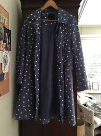 Blue polka dot coat for sale