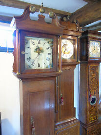 Attractive oak Grandfather/Longcase clock by George Honeybone c1850. Famous maker & serviced.