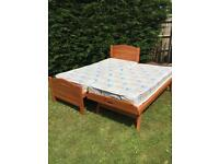 Pine single bed with guest bed and mattress's.