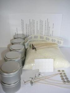 1 kg Soy Wax Candle Making10 Tins Kit  Labels,Wick Tabs,Wicks **Bonus** Stickums