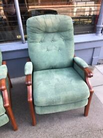 Reclining Armchair , in green material - Free Local Delivery
