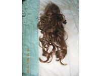 Glamorous Brown Clip In Ponytail Hair Extension Piece Wavy Style