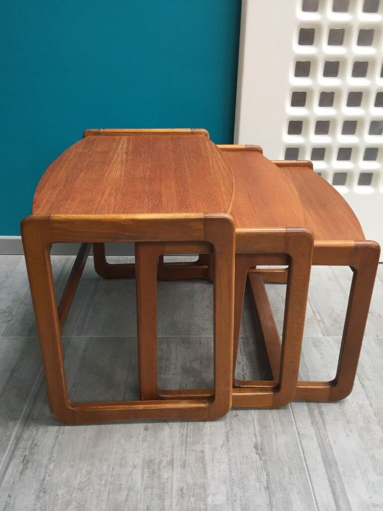 G plan Nest of 3 tables rare design teak and beech 1970s