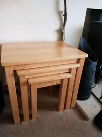 John Lewis light oak nest of 3 tables