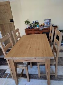 Pine Table & 4 Chairs - handmade by professional carpenter, Very Good Condition.