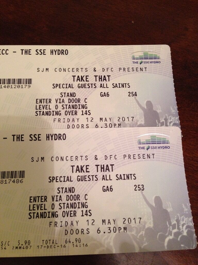 2 x Take That Tickets (standing) 12th May