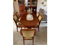 Dining table and 6 chairs, 1980's, dining room display cabinet also for sale, open to offers