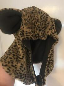 Festival fur leopard hat hand made