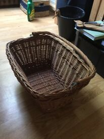 Wicker bike basket for sale, lovely looking but needs some care and attention