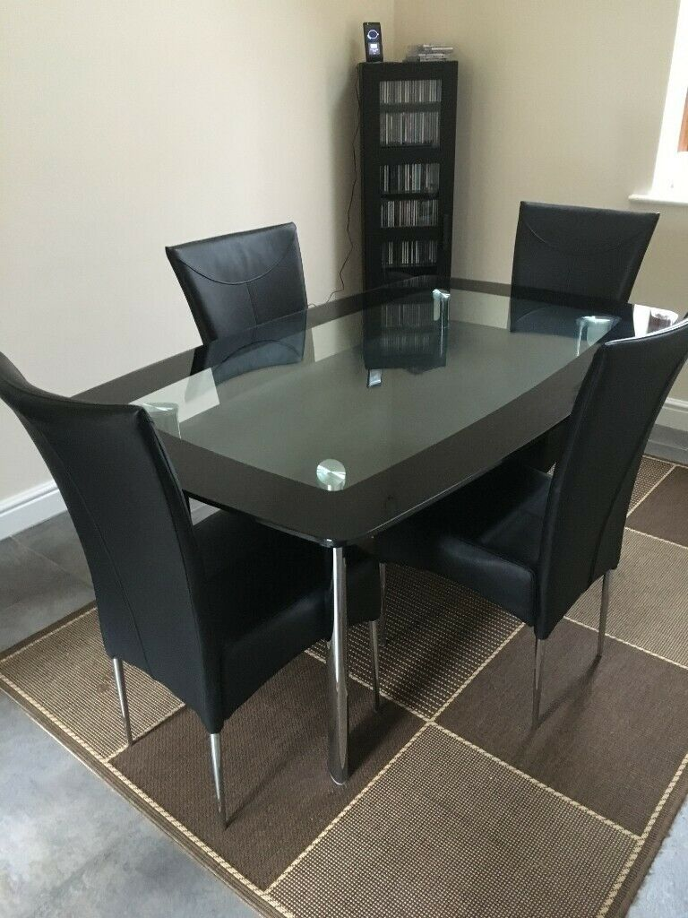 Dining Table (Black/tinted Glass) And 4 Chairs