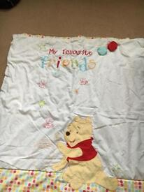 Winnie the Pooh cot bed quilt. 4 tog. 2 available £5 each.