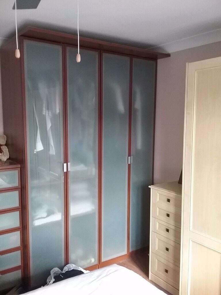 Ikea Wardrobes X 2 Dark Wood Effect With Obscure Glass