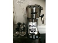 Delonghi EC680 15 bar espresso machine with frother. Hardly used, silver/black.