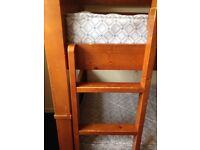 Solid pine bunk beds available with or without mattresses. Scratches and marks as in photos