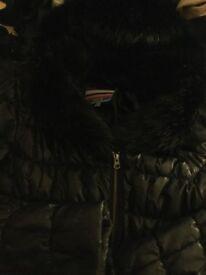 Ladies Next Black Winter Jacket with Fabulous Fur Hood- Excellent Condition.