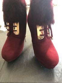 Brand new red boots-- size 4.5-5