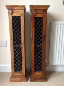 CD Tower x 2 - Antique Effect Wood - Matching Pair