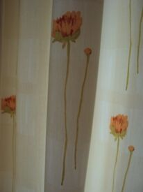 Lovely cream curtains lined with poppy design