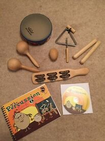 Percussion music instruments book and cd