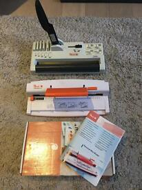 Excellent condition Peach PB300-11 binding set: hole punch, press and binding cones - £45 ONO