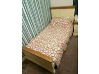 Like New Natural Oak 3ft Single Bed including excellent Mattress and bedside table RRP £799