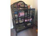 Extra Large Black Parrot Chinchilla Cage With Tray On Wheels