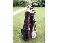 Golf clubs, trolley bag, umbrella, balls Etc