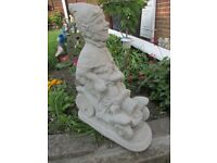 GNOME IN CAR CONCRETE STONE GARDEN ORNAMENT