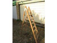 Vintage 7 tread wooden platform steps