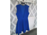 LADIES MISS GUIDED BLUE SKATER DRESS - SIZE 12