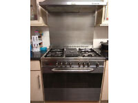 Baumatic dual fuel range cooker with 5 burners (can also give hood)