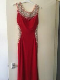 Illusion Red Prom Dress (Size 8)