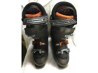 Salomon Ski Boots, size 9 1/2. Decent condition. 4 buckle type