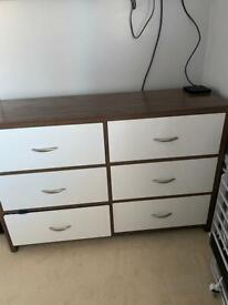 6 drawer chest & 3 - 2 drawer bedside tables -Free