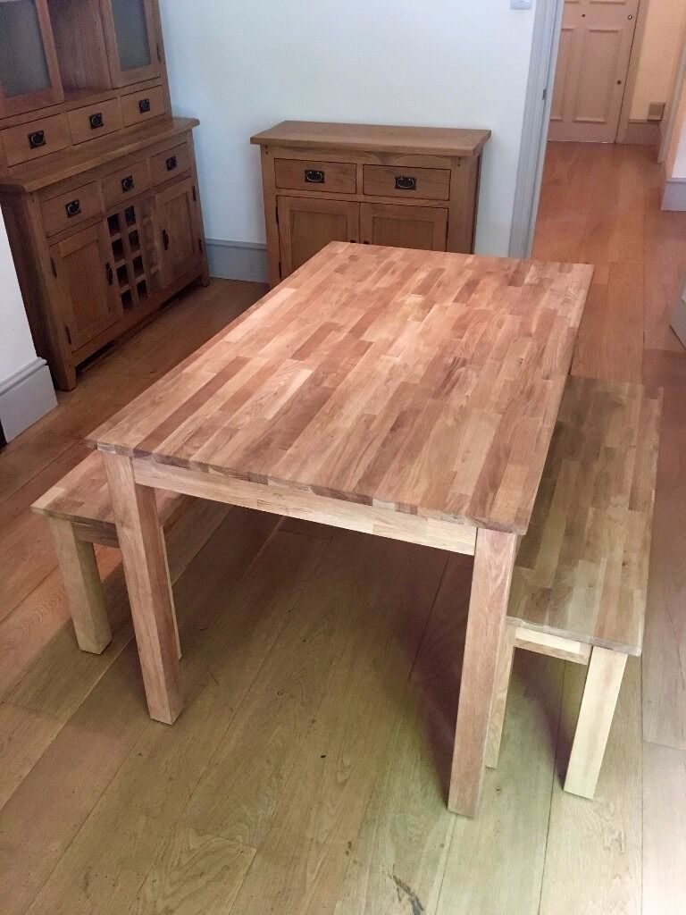Epsom Oiled Oak Dining Set With 2 Benches Like New