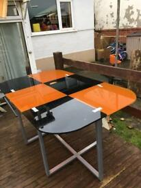 6 seater retro orange and black table