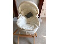 Mamas and papas Moses basket with stand and thick mattress
