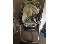 Chicco high chair with attachable tray. Suitable from birth as fully reclines but also for feeding