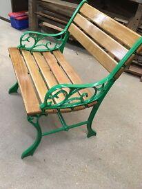 Oak & Cast Iron Vintage garden Chair