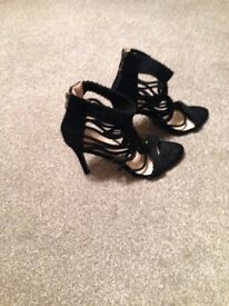 Lovely ladies black suede high heel shoes