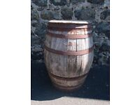 Old whiskey barrel ?oak / vintage / antique collectors / wooden curve container / storage / upcycle