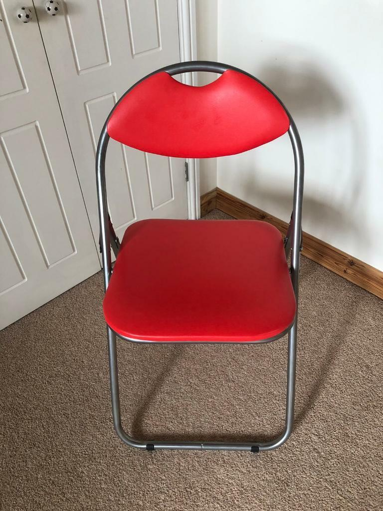 Folding chair faux red leather bedroom/office | in Mattishall, Norfolk |  Gumtree