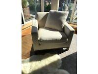 Large Cream Fabric Armchair