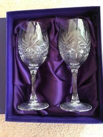 Set of 2 boxed vintage Edinburgh Crystal small Wine Glasses in Original Box Scotland