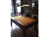 7ft slate bed pool table and overhead three shade light all in excellent condition