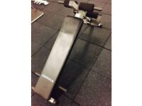 Gym mats, squat rack, power tower, 1-10kg Dumbbells, weights tree and decline ab bench