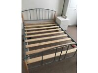 Double bed frame. Metal and wood