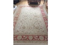 Terracotta and beige rug